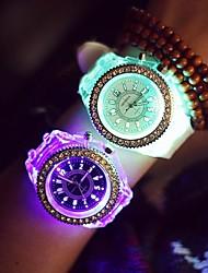 cheap -Women's Wrist Watch Quartz Silicone Black / White LED Luminous Noctilucent Analog Ladies Sparkle Casual Fashion - White Black