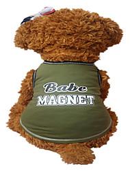 cheap -Dog Vest Dog Clothes Letter & Number Light Green Dark Green Cotton Costume For Summer Men's Women's Fashion
