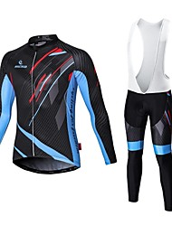 cheap -Malciklo Men's Long Sleeve Cycling Jersey with Bib Tights White Black Bike Tights Clothing Suit Breathable 3D Pad Quick Dry Sports Coolmax® Elastane Lycra Geometry Mountain Bike MTB Road Bike Cycling