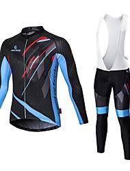 cheap -Malciklo Men's Long Sleeve Cycling Jersey with Bib Tights Winter Fleece Velvet Lycra Black White Bike Jersey Bib Tights Fleece Lining Breathable 3D Pad Quick Dry Back Pocket Sports Lines / Waves