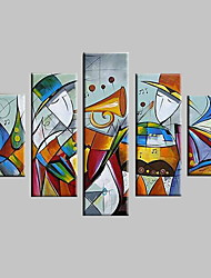 cheap -Oil Painting Hand Painted - Abstract Landscape Modern With Stretched Frame / Five Panels / Stretched Canvas