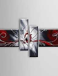 cheap -Oil Painting Hand Painted - Abstract Still Life Classic Modern With Stretched Frame / Four Panels With Stretched Frame