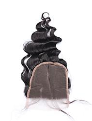 """Недорогие -10""""-18"""" Натуральный чёрный (#1В) Изготовлено вручную Свободные волны Человеческие волосы закрытие Умеренно-коричневый Французское кружево"""