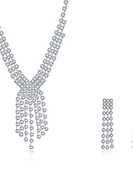 cheap -Women's Cubic Zirconia Jewelry Set Pendant Necklace Necklace / Earrings Personalized Tassel Vintage Fashion Bridal Sterling Silver Zircon Cubic Zirconia Earrings Jewelry Silver For Wedding Party