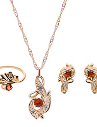 cheap -Women's Jewelry Set Pendant Necklace Ladies Fashion Rhinestone Rose Gold Plated Earrings Jewelry Red / Pink For Wedding Party / Rings