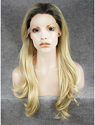 cheap -imstyle 24natural wave high quality bleach blond synthetic wigs lace front with brown root