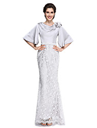 cheap -Mermaid / Trumpet Mother of the Bride Dress Elegant Cowl Neck Ankle Length Lace Satin Chiffon Half Sleeve with Lace Flower 2021
