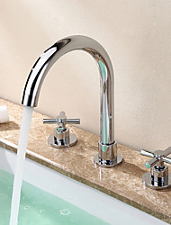 cheap -Brass Bathroom Faucet, Chrome Two Handles Three Holes Widerspread Contemporary Bathroom Sink Faucet with Hot and Cold Water