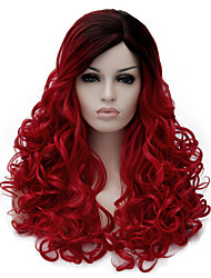 cheap -Synthetic Wig Wavy Wavy Wig Medium Length Black / Red Synthetic Hair Women's Dark Roots Side Part Red