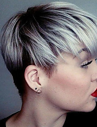 cheap -Human Hair Wig Short Straight Layered Haircut Short Hairstyles 2019 Straight Short Silver Black Blonde Dark Roots With Bangs Capless Women's Silver Honey Blonde Medium Auburn