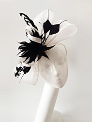 cheap -Flax / Feather Fascinators with 1 Wedding / Special Occasion / Horse Race Headpiece