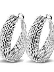 cheap -Women's Hoop Earrings Statement Ladies Fashion Sexy Italian everyday Sterling Silver Earrings Jewelry Silver For Party Wedding Casual Daily Masquerade Engagement Party