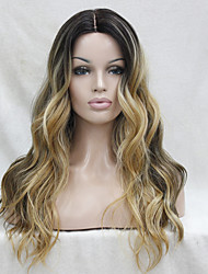 cheap -Synthetic Lace Front Wig Wavy Kardashian Style Middle Part Lace Front Wig Black / Grey Black / Blonde Dark Brown / Golden Blonde Synthetic Hair Women's Heat Resistant / Ombre Hair / Dark Roots Dark