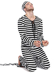 cheap -Prisoner Cosplay Costume Party Costume Men's Christmas Halloween New Year Festival / Holiday Terylene Men's Carnival Costumes Striped / Top / Hat