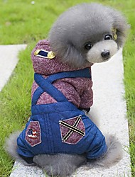 cheap -Dog Hoodie Jumpsuit Dog Clothes British Green Wine Polar Fleece Cotton Costume For Spring &  Fall Winter Men's Women's Holiday Fashion