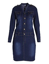 cheap -Women's Dark Blue Dress Casual Fall Daily Weekend Bodycon Solid Colored Shirt Collar S M Slim