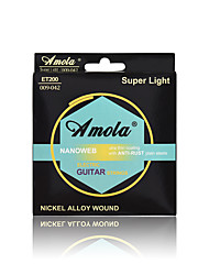 cheap -Amola  ET200 009-042 NANOWEB NICKEL ALLOY WOUND Ulra Thin Coating With ANTI-RUST Plain Steels Electric Guitar Strings