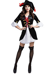 cheap -Pirate Cosplay Costume Party Costume Women's Sexy Uniforms More Uniforms Christmas Halloween Carnival Festival / Holiday Terylene Black / White Carnival Costumes Color Block