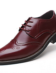 cheap -Men's Formal Shoes Leather Spring / Fall Business Oxfords Slip Resistant Black / Burgundy / Brown / Wedding / Party & Evening / Block Heel / Lace-up / Party & Evening