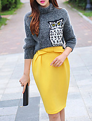cheap -Women's Going out Street chic Pencil Skirts - Solid Colored Bow Yellow
