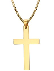 cheap -Men's Pendant Necklace Cross Ladies Simple Style Fashion Stainless Steel Gold Plated Golden Black Silver Necklace Jewelry For Christmas Gifts Party Daily Casual