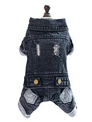 cheap -Dog Jumpsuit Denim Jacket / Jeans Jacket Dog Clothes Jeans Black Denim Costume For Spring &  Fall Winter Men's Women's Cowboy Fashion