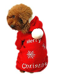 cheap -Cat Dog Coat Hoodie Dog Clothes Snowflake Red Corduroy Costume For Winter Men's Women's Holiday Christmas