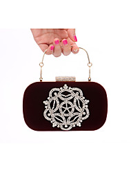 cheap -Women's Bags Velvet Evening Bag Crystal / Rhinestone Solid Colored Wedding Party Event / Party Wine