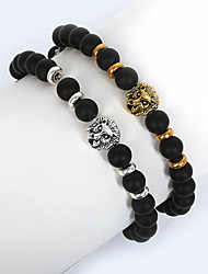 cheap -Men's Bead Bracelet Lion Animal Fashion Glass Bracelet Jewelry Gold / Silver For Christmas Gifts Daily Casual Sports