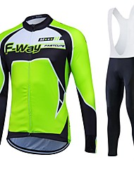 cheap -Fastcute Men's Long Sleeve Cycling Jersey Winter Fleece Polyester Silicon Black Plus Size Bike Clothing Suit Thermal / Warm Fleece Lining Breathable 3D Pad Quick Dry Sports Sports Mountain Bike MTB