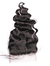 cheap -Lace Closure Brazilian Loose Curly Wave Closure Free Middle Three Part 5x5 Lace Closure With Baby Hair Bleached Knots