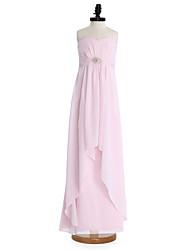 cheap -Sheath / Column Sweetheart Neckline Floor Length Chiffon Junior Bridesmaid Dress with Draping / Sash / Ribbon / Crystal Brooch / Natural