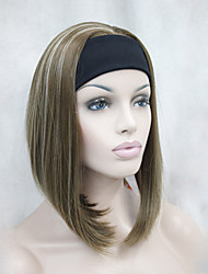 cheap -new fashion golden brown with blonde highlights 3 4 wig with headband women s short straight synthetic half wig