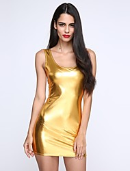 cheap -Women's Club Street chic Mini Bodycon Dress - Solid Colored Deep U Summer Gold Black Silver One-Size / Skinny