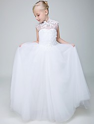 cheap -Ball Gown Ankle Length Wedding / First Communion Flower Girl Dresses - Tulle Sleeveless High Neck with Beading / Appliques