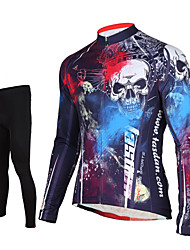 cheap -TASDAN Men's Long Sleeve Cycling Jersey with Tights Black Skull Bike Pants / Trousers Jersey Tights Breathable 3D Pad Quick Dry Reflective Strips Back Pocket Winter Sports Elastane Skull Mountain