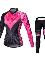 cheap -Malciklo Women's Long Sleeve Cycling Jersey with Tights - Black / Pink British Plus Size Bike Jersey Bib Tights Clothing Suit Breathable 3D Pad Quick Dry Back Pocket Winter Sports Velvet Lycra Classic