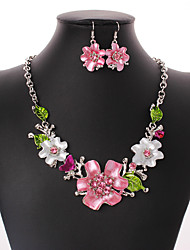 cheap -Women's Cubic Zirconia Drop Earrings Statement Necklace Flower Ladies Bohemian European Fashion Euramerican Boho Zircon Silver Plated Earrings Jewelry Rainbow For Wedding Party Daily Casual 1 set
