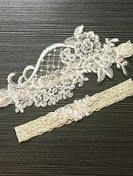 abordables -Dentelle / Satin Elastique Classique / Mode Jarretière de mariage Avec Imitation Perle / Fleur Jarretières