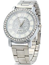 cheap -Men's Wrist Watch Diamond Watch Quartz Stainless Steel Silver Imitation Diamond / Analog Ladies Vintage Casual Simulated Diamond Watch Fashion - Silver