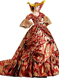 cheap -Rococo Victorian 18th Century Dress Party Costume Masquerade Women's Lace Lace Cotton Costume Golden / Red Vintage Cosplay Party Prom Court Train Long Length Ball Gown / Floral / Hat
