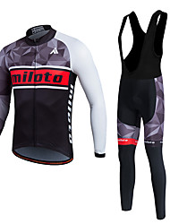 cheap -Miloto Men's Long Sleeve Cycling Jersey with Bib Tights White Bike Clothing Suit Thermal / Warm Fleece Lining Breathable 3D Pad Quick Dry Winter Sports Polyester Fleece Silicon Geometry Mountain Bike