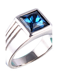 cheap -Men's Statement Ring Signet Ring Sapphire Gold Silver Rhinestone Titanium Steel Square Personalized Vintage Fashion Christmas Gifts Wedding Jewelry Solitaire Emerald Cut