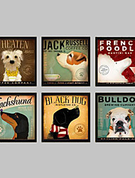 cheap -Animal Framed Canvas / Framed Set Wall Art,PVC Black No Mat With Frame Wall Art