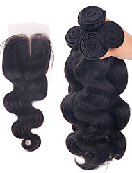 cheap -Brazilian Hair Body Wave Human Hair Hair Weft with Closure Human Hair Weaves Human Hair Extensions