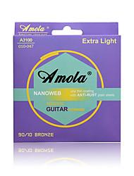 cheap -Amola A3100 010-047 Extra Light Bronze Phosphor Ulra Thin Coating ANTI-RUST Plain Steels Acoustic Guitar Strings