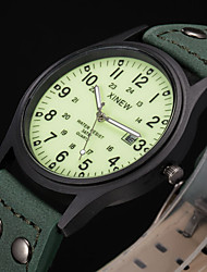cheap -Men's Sport Watch Fashion Watch Military Watch Quartz Leather Green Water Resistant / Waterproof Calendar / date / day Noctilucent Analog Vintage Casual Aristo - Green