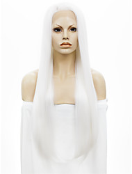 cheap -Synthetic Wig Straight Kardashian Style Lace Front Wig White White Synthetic Hair White Wig StrongBeauty