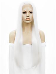 Недорогие -Парики из искусственных волос Прямой Kardashian Прямой силуэт Лента спереди Парик Белый Искусственные волосы Белый StrongBeauty