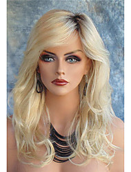 cheap -Synthetic Wig Body Wave Style With Bangs Lace Front Wig Blonde Blonde Synthetic Hair Women's Dark Roots Side Part Blonde Wig Long